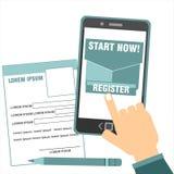 Concetto di registrazione online Immagini Stock Libere da Diritti