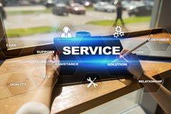 Concetto di relazione e di servizio di assistenza al cliente sullo schermo virtuale Fotografie Stock