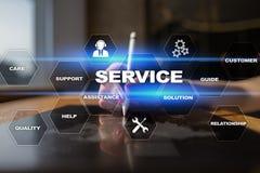 Concetto di relazione e di servizio di assistenza al cliente sullo schermo virtuale Fotografia Stock