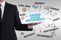 Concetto di responsabilità sociale dell'impresa Uomo che tiene una compressa co Immagine Stock Libera da Diritti