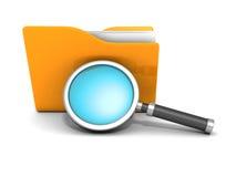 Concetto di ricerca dell'archivio Cartella e lente d'ingrandimento del documento cartaceo Fotografia Stock Libera da Diritti
