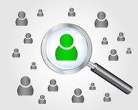 Concetto di ricerca di lavoro. lente d'ingrandimento che cerca peo Immagini Stock Libere da Diritti