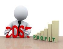 concetto di riduzione dei costi dell'uomo d'affari 3d illustrazione di stock