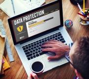 Concetto di rimozione di malware della parete refrattaria di protezione di file di dati Fotografie Stock