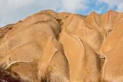 Concetto di riscaldamento globale Il Marocco, alte montagne di atlante Picco coperto da neve e dalle dune di sabbia in Sahara Des Fotografia Stock Libera da Diritti