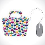 Concetto di riserva online di vettore del negozio di molta gente Immagini Stock