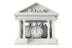 Concetto di risparmi di tempo Costruzione della Banca con il cronometro Fotografia Stock