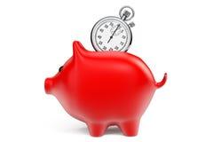 Concetto di risparmi di tempo. Porcellino salvadanaio rosso con il cronometro Fotografia Stock Libera da Diritti