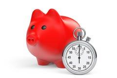 Concetto di risparmi di tempo. Porcellino salvadanaio rosso con il cronometro Fotografie Stock Libere da Diritti