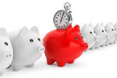 Concetto di risparmi di tempo. Porcellino salvadanaio rosso con il cronometro Fotografia Stock