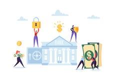 Concetto di risparmio dei soldi Gente di affari dei caratteri che investono soldi sul conto bancario Deposito di sicurezza, attiv royalty illustrazione gratis