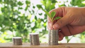 Concetto di risparmio dei soldi, pila di monete video d archivio