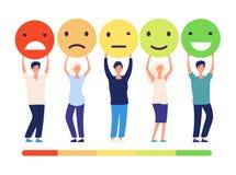 Concetto di risposte di clienti La gente e stato di misurazione di raccomandazione di approvazione di opinioni di rassegna Emotic illustrazione vettoriale