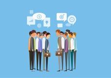 concetto di riunione d'affari di due genti del gruppo e di comunicazione commerciale royalty illustrazione gratis