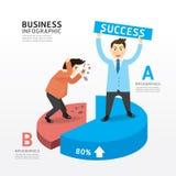 Concetto di riuscita progettazione di Infographic del fumetto dell'uomo d'affari. Immagini Stock