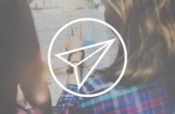 Concetto di Rocket Launch Growth Success Startup dell'aeroplano di carta fotografie stock libere da diritti