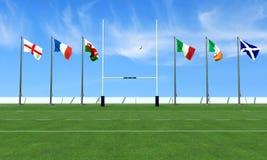 Concetto di rugby di sei nazioni Fotografie Stock Libere da Diritti