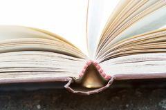 Concetto di saggezza e di istruzione - libro aperto nell'ambito di luce solare Immagini Stock
