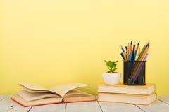 concetto di saggezza e di istruzione - libro aperto sulla tavola di legno, fondo di colore Fotografie Stock