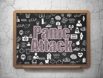 Concetto di salute: Attacco di panico sul fondo del consiglio scolastico Immagini Stock Libere da Diritti