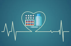 Concetto di salute - il simbolo del cuore consiste delle pillole, progettazione piana Fotografie Stock Libere da Diritti