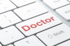 Concetto di salute: Medico sul fondo della tastiera di computer Immagini Stock Libere da Diritti
