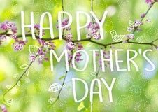 Concetto di saluto di giorno del ` s della madre Bei fiori su un ramo di albero Priorità bassa della sorgente Albero del fiore Immagine Stock