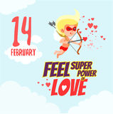 Concetto di San Valentino con il cupido del fumetto come supereroe Fotografia Stock