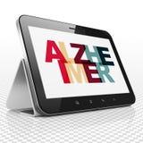 Concetto di sanità: Computer della compressa con Alzheimer su esposizione Fotografia Stock