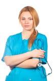 Concetto di sanità, di professione, della gente e della medicina - donna di medico con lo stetoscopio Sopra bianco Immagine Stock Libera da Diritti