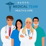 Concetto di sanità e del gruppo di medici, illustrazione di vettore Fotografia Stock Libera da Diritti