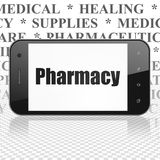 Concetto di sanità: Smartphone con la farmacia su esposizione Immagine Stock Libera da Diritti
