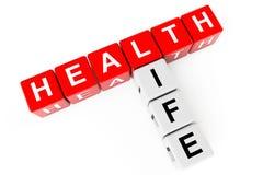 Concetto di sanità. Cubi con il segno di vita di salute Fotografie Stock