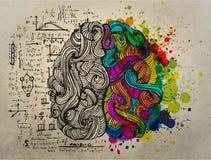 Concetto di scarabocchio del cervello circa la destra creativa e la parte di sinistra logica illustrazione di stock