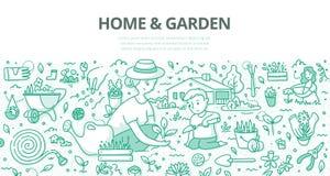 Concetto di scarabocchio del giardino & della casa illustrazione di stock