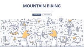 Concetto di scarabocchio di ciclismo di montagna royalty illustrazione gratis