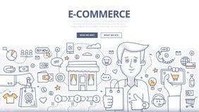 Concetto di scarabocchio di E-comerce Immagine Stock