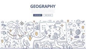 Concetto di scarabocchio di geografia illustrazione vettoriale
