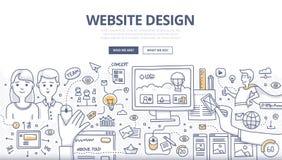 Concetto di scarabocchio di web design Fotografie Stock