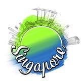 Concetto di schizzo di logo di viaggio di Singapore Fotografia Stock
