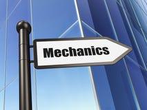 Concetto di scienza: meccanici del segno sul fondo della costruzione illustrazione di stock