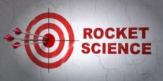 Concetto di scienza: obiettivo e Rocket Science sul fondo della parete Fotografia Stock