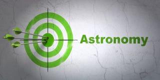 Concetto di scienza: obiettivo ed astronomia sul fondo della parete illustrazione vettoriale