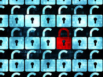 Concetto di segretezza: icona chiusa rossa del lucchetto sopra Immagini Stock