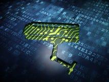 Concetto di segretezza: Macchina fotografica del Cctv su fondo digitale Fotografie Stock Libere da Diritti