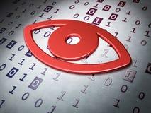 Concetto di segretezza:  Occhio sul fondo di codice binario Immagine Stock