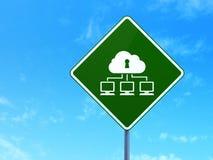Concetto di segretezza: Rete della nuvola sul segnale stradale Fotografia Stock