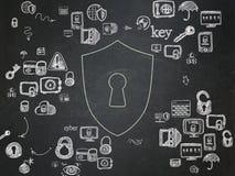 Concetto di segretezza: Schermo con il buco della serratura sulla scuola Immagini Stock Libere da Diritti