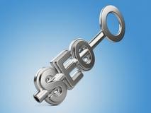 Concetto di Seo con la chiave Fotografia Stock