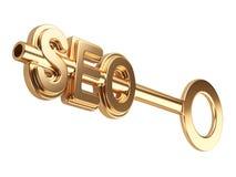 Concetto di Seo con la chiave dell'oro Immagini Stock Libere da Diritti